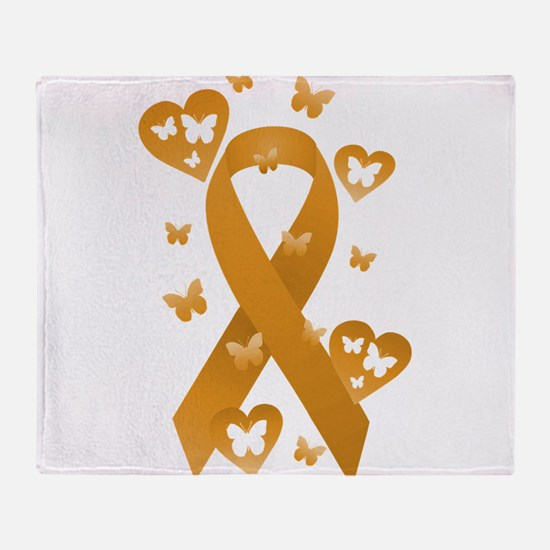 Orange Awareness Ribbon Throw Blanket