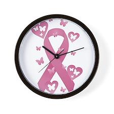 Pink Awareness Ribbon Wall Clock