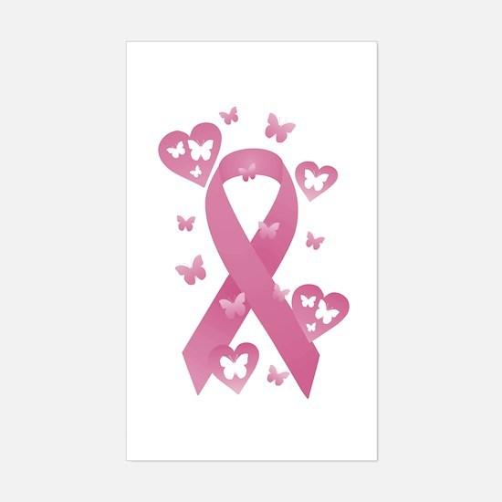 Pink Awareness Ribbon Sticker (Rectangle)