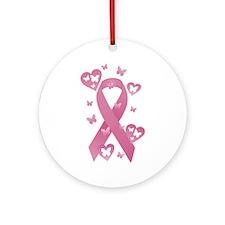 Pink Awareness Ribbon Ornament (Round)