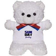 Sunday funday (black/blue) Typographic Teddy Bear