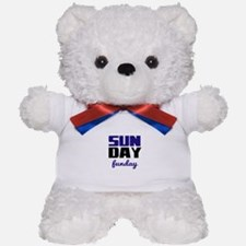 Sunday funday (black/blue) Typographic Teddy Bear