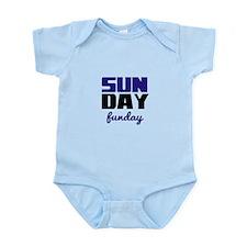 Sunday funday (black/blue) Typographic Body Suit