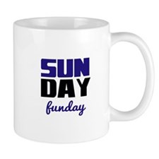 Sunday funday (black/blue) Typographic Mug