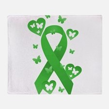 Green Awareness Ribbon Throw Blanket