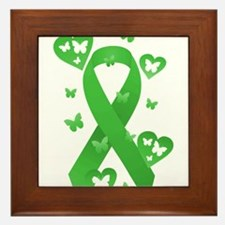 Green Awareness Ribbon Framed Tile