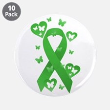 "Green Awareness Ribbon 3.5"" Button (10 pack)"
