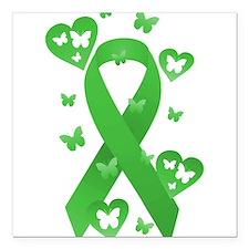 "Green Awareness Ribbon Square Car Magnet 3"" x 3"""
