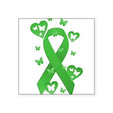 "Green Awareness Ribbon Square Sticker 3"" x 3"""