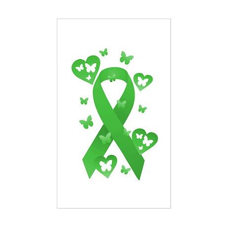 Green Awareness Ribbon Sticker (Rectangle)