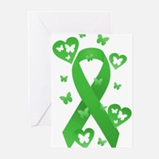 Green Awareness Ribbon Greeting Cards (Pk of 20)