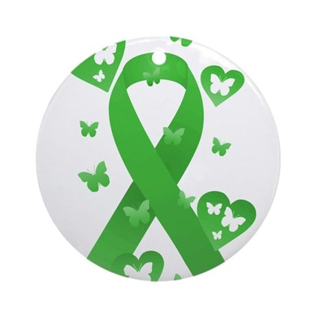 Green Awareness Ribbon Ornament (Round)
