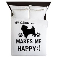 My Cairn Terrier Makes Me Happy Queen Duvet