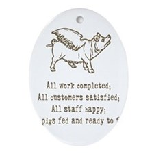 pigs ready to fly Ornament (Oval)