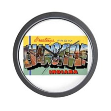 Evansville Indiana Greetings Wall Clock