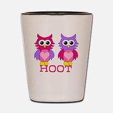 two owls hoot Shot Glass