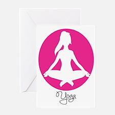 yoga 22 pink white Greeting Card