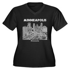 Minneapolis Women's Plus Size V-Neck Dark T-Shirt