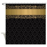 Black damask Shower Curtains