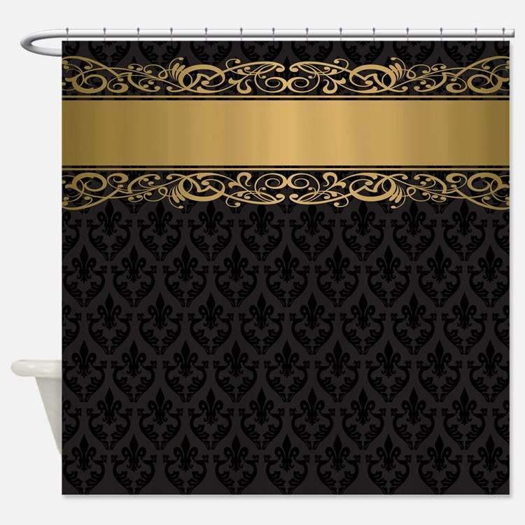 Black and gold damask shower curtains black and gold for Brown and gold bathroom accessories