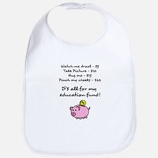 Price List for Education Fund with Piggy Bank Bib