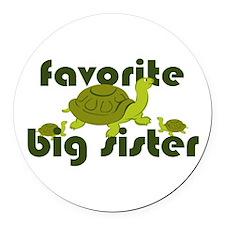 Favorite Big Sister Round Car Magnet