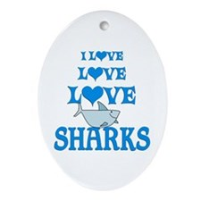Love Love Sharks Ornament (Oval)