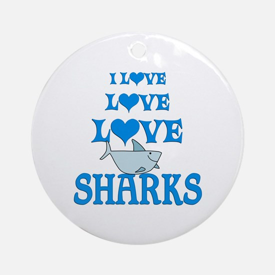 Love Love Sharks Ornament (Round)