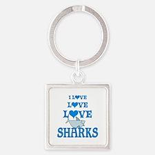 Love Love Sharks Square Keychain