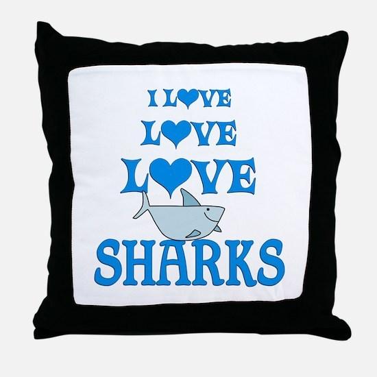 Love Love Sharks Throw Pillow