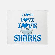 Love Love Sharks Throw Blanket