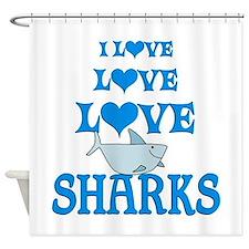 Love Love Sharks Shower Curtain