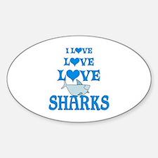 Love Love Sharks Sticker (Oval)