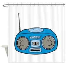 Blue Radio Shower Curtain