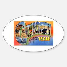 Galveston Texas Greetings Oval Decal
