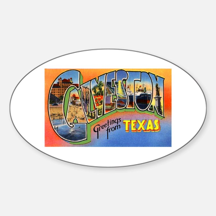 Galveston Texas Greetings Oval Decal