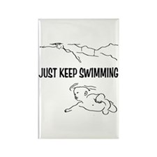 Just Keep Swimming Rectangle Magnet