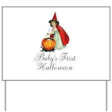 Babys First Halloween Vintage Witch Yard Sign