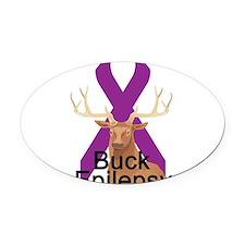 3-buck-epilepsy.png Oval Car Magnet