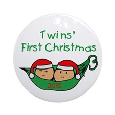 Pod Twins First Christmas Ornament (Round)