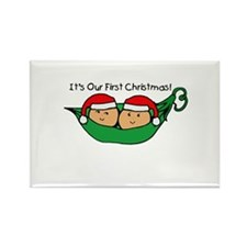 Pod Twins First Christmas Rectangle Magnet