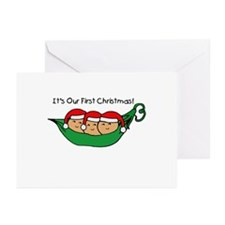 Pod Triplets First Christmas Greeting Cards (Packa