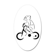 Child Cyclist 20x12 Oval Wall Decal