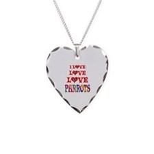 Love Parrots Necklace Heart Charm