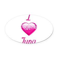 I Love/Heart Tuna Oval Car Magnet