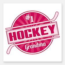 """#1 Hockey Grandma Square Car Magnet 3"""" x 3"""""""
