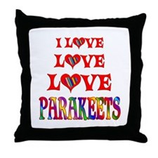 Love Love Parakeets Throw Pillow