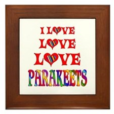 Love Love Parakeets Framed Tile
