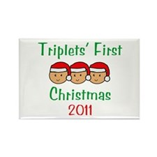 Triplets First Santa Hats Rectangle Magnet