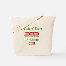 Triplets First Santa Hats Tote Bag